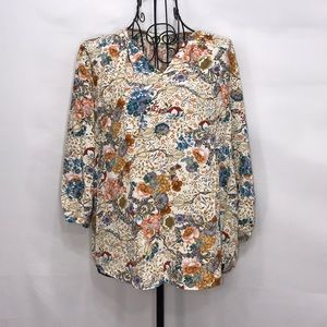 Lucy & Laurel Anthropologie Floral Top Size Small